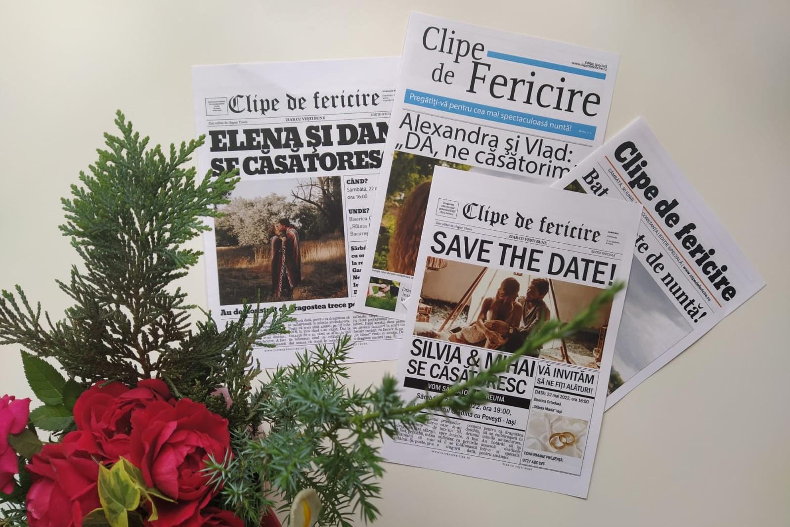 Cei dragi primesc vestea nunţii prin intermediul unui ziar, în locul banalei invitaţii.